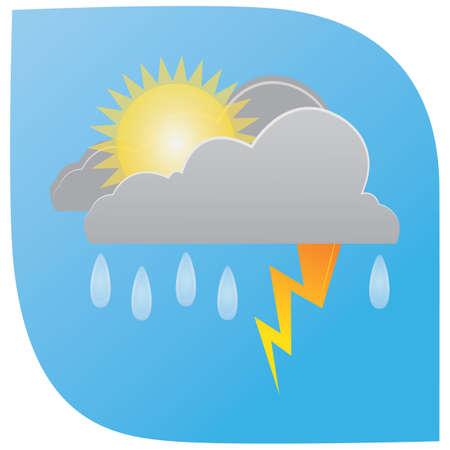 regenval met bliksemwolken en zon Stock Illustratie