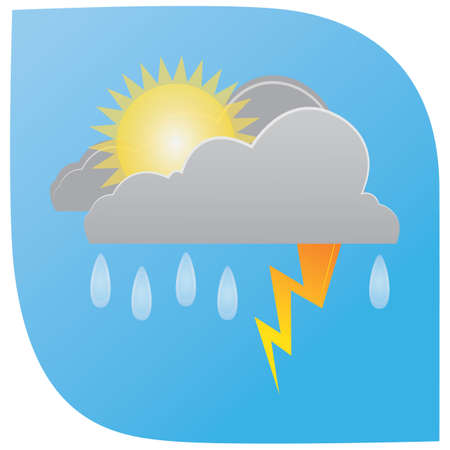 rainfall with lightning clouds and sun