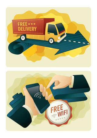 Livraison gratuite et wifi gratuit Banque d'images - 81538781