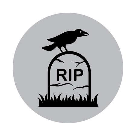 kraai op een grafsteen