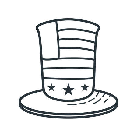 top hat with american flag Illustration