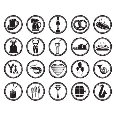 set of oktoberfest icons 向量圖像