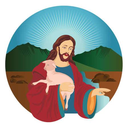 jesus holding lamb Illustration