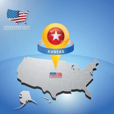 Kansas State su mappa di Stati Uniti d'America