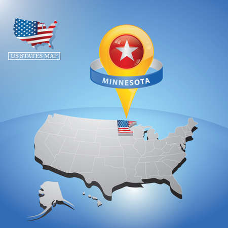 minnesota state on map of usa Stock Vector - 81536731