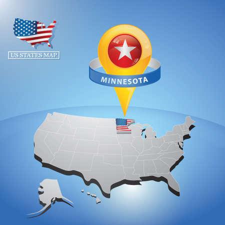 stato del Minnesota sulla mappa degli Stati Uniti
