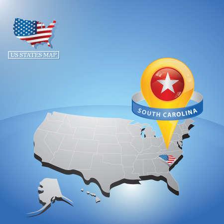 미국의지도에 사우스 캐롤라이나 주