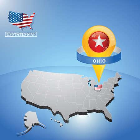 미국의지도에 오하이오 주