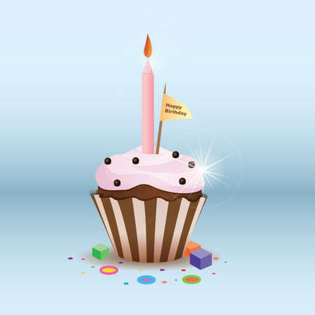 toothpick: birthday cupcake Illustration