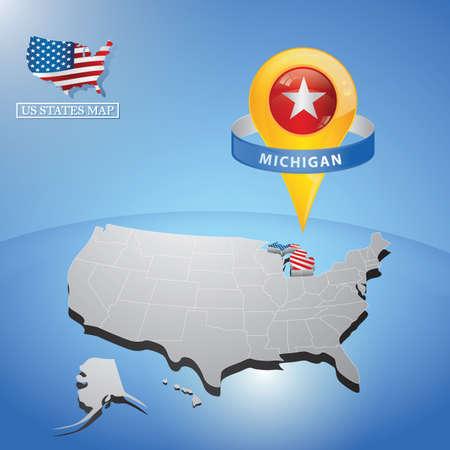 미국지도에 미시간 주 일러스트