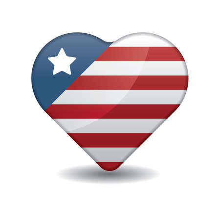 heart shaped america flag