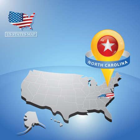 stato della Carolina del Nord sulla mappa degli Stati Uniti