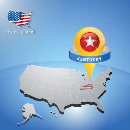 Stato del Kentucky sulla mappa dell & # 39 ; Opera Vettoriali