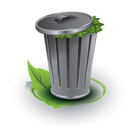 poubelle pleine de feuilles