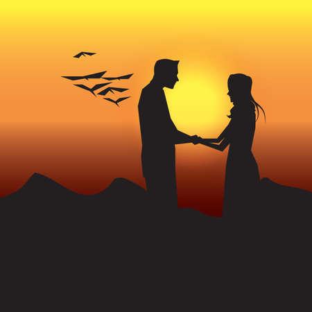 silueta de pareja tomados de la mano Ilustración de vector