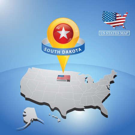 アメリカの地図サウス ・ ダコタ州  イラスト・ベクター素材
