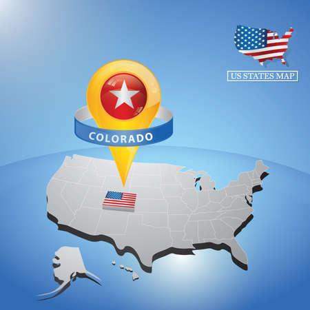 マップ上の米国のコロラド州  イラスト・ベクター素材