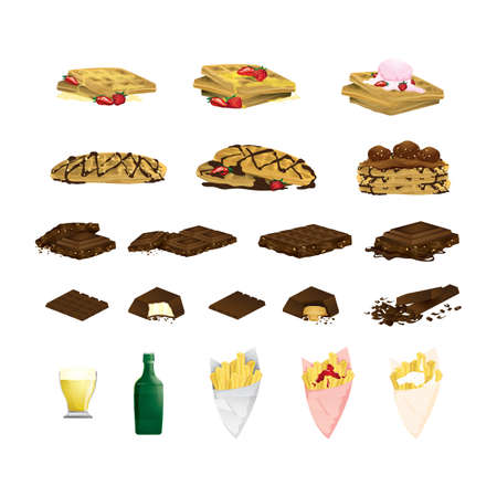 set of belgium food items Illustration