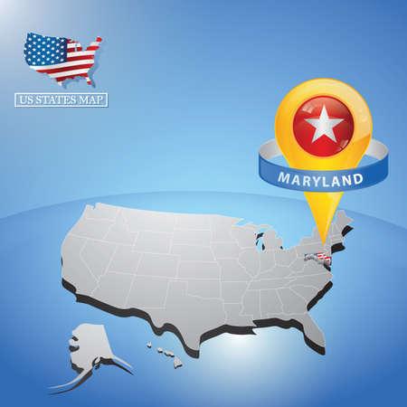 미국지도에 메릴랜드 주 일러스트