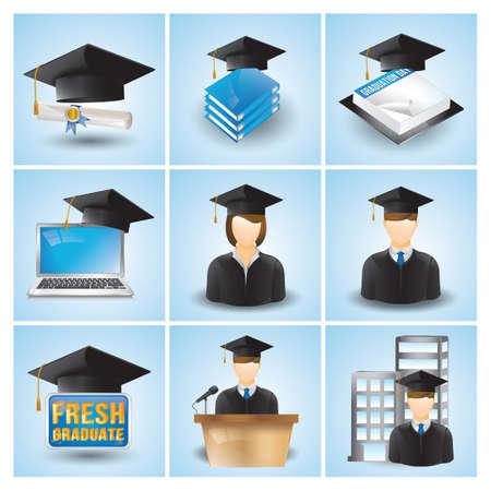 graduation icons Ilustração