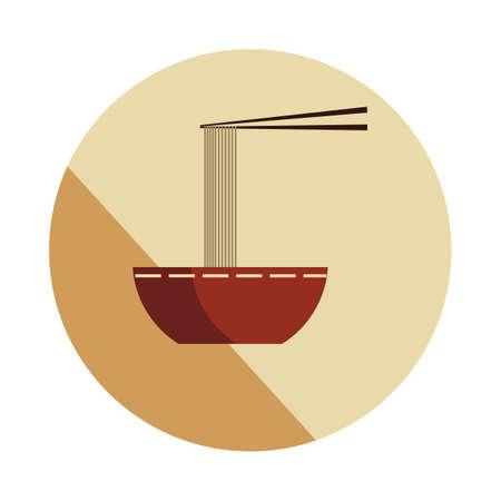 nouilles dans un bol et baguettes