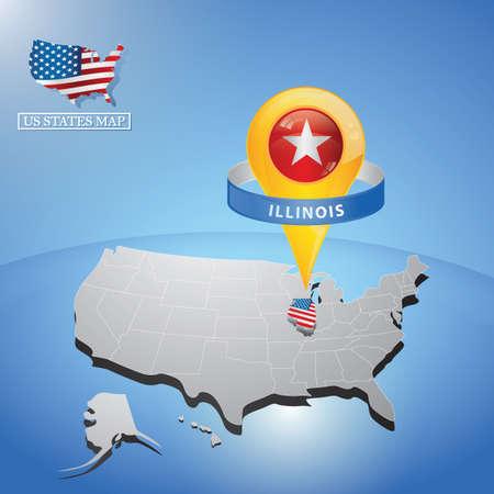 マップ上の米国のイリノイ州