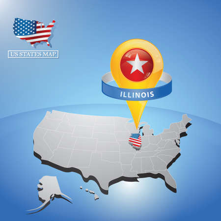 Stato Illinois sulla mappa dell & # 39 ; USA Vettoriali