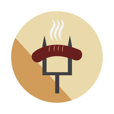 saucisse sur fourchette Vecteurs