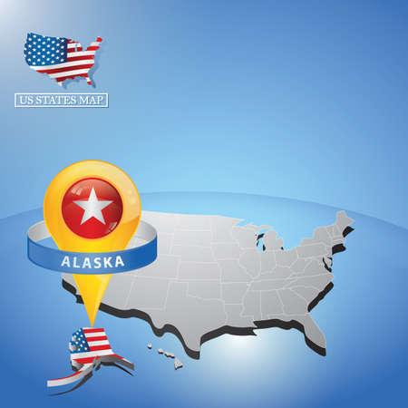 미국의지도에 알래스카 상태 일러스트