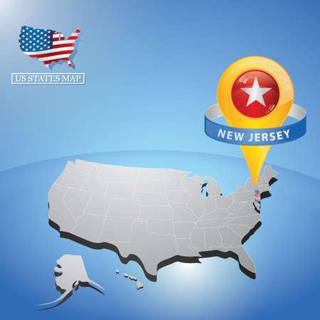 Estado de nova jersey no mapa dos eua Foto de archivo - 81486790