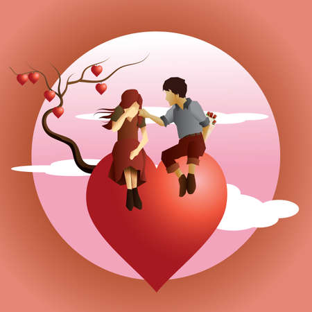 couple sitting on tree of hearts