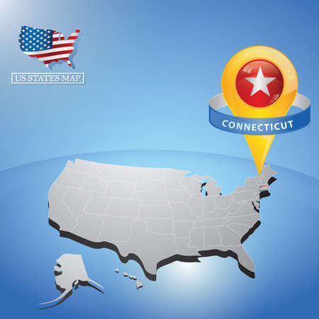 connecticut state on map of usa Çizim