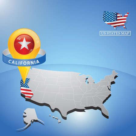 미국 캘리포니아의지도에 캘리포니아 주