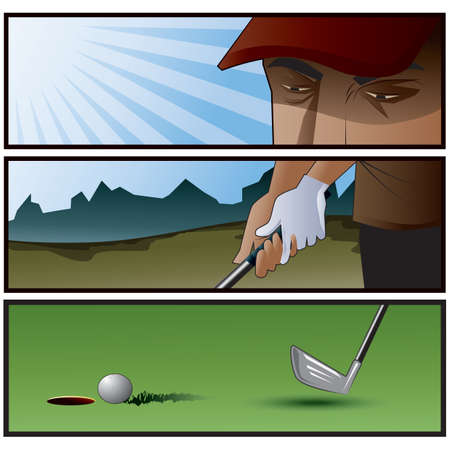 comic strips of man playing golf