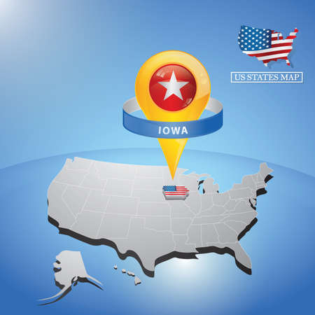 iowa state on map of usa Çizim