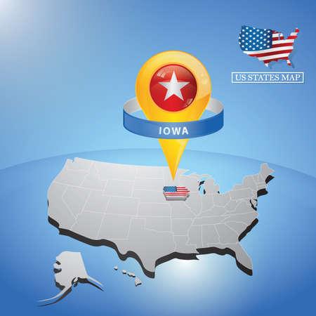 Iowa State on mappa degli Stati Uniti Vettoriali
