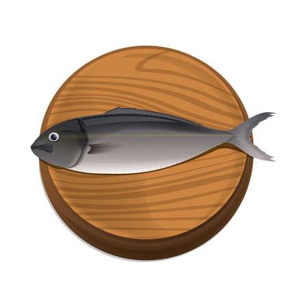 vis op snijplank