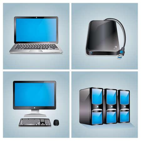 Set of computer icons Illustration
