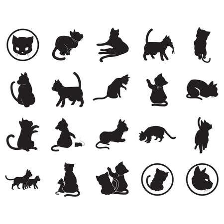 collection of cat silhouettes Illusztráció