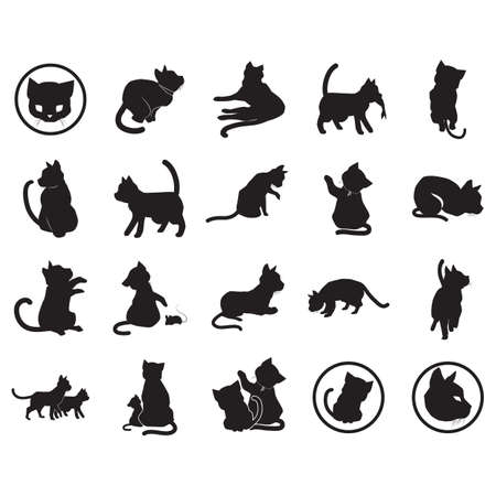 collection of cat silhouettes Illustration