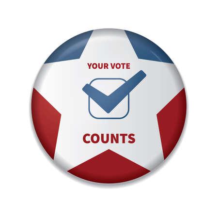 su insignia de cuenta de votos