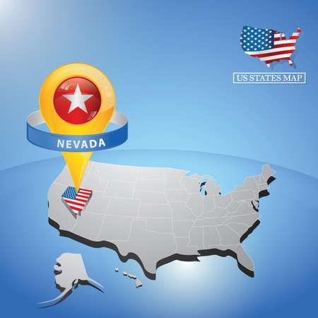 Stato del Nevada sulla mappa di USA Archivio Fotografico - 81536745