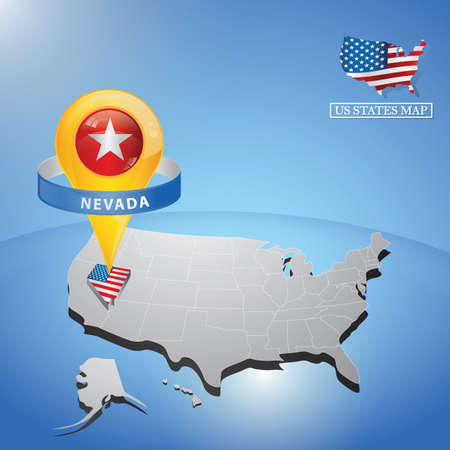 nevada state on map of usa Illustration