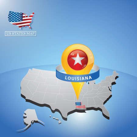 Stato della Louisiana sulla mappa degli Stati Uniti