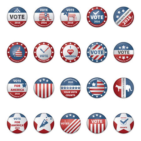 collection of usa election badges