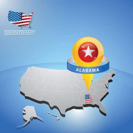 マップ上の米国のアラバマ州  イラスト・ベクター素材