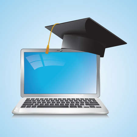 mortarboard and laptop