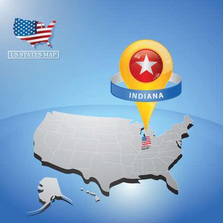 Stato Indiana sulla mappa dell & # 39 ; USA Vettoriali