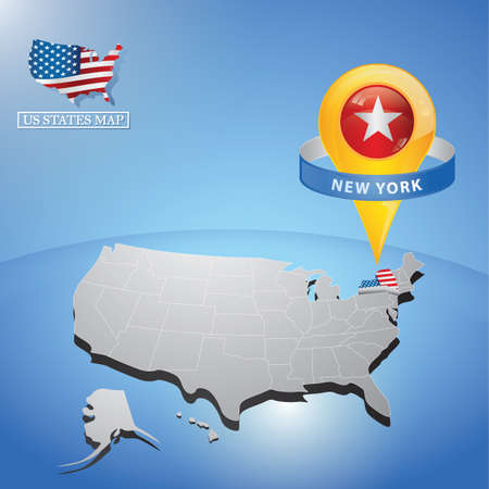 New York State on mappa degli Stati Uniti Vettoriali