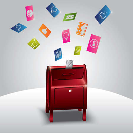Enveloppen en verschillende concepten van pictogrammen die uit brievenbus vliegen Stock Illustratie
